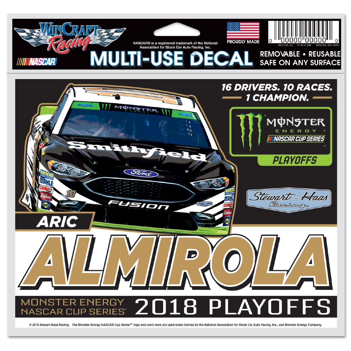 Aric Almirola 2018 Smithfield Stewart-Haas Racing Playoff 5X6 Decal
