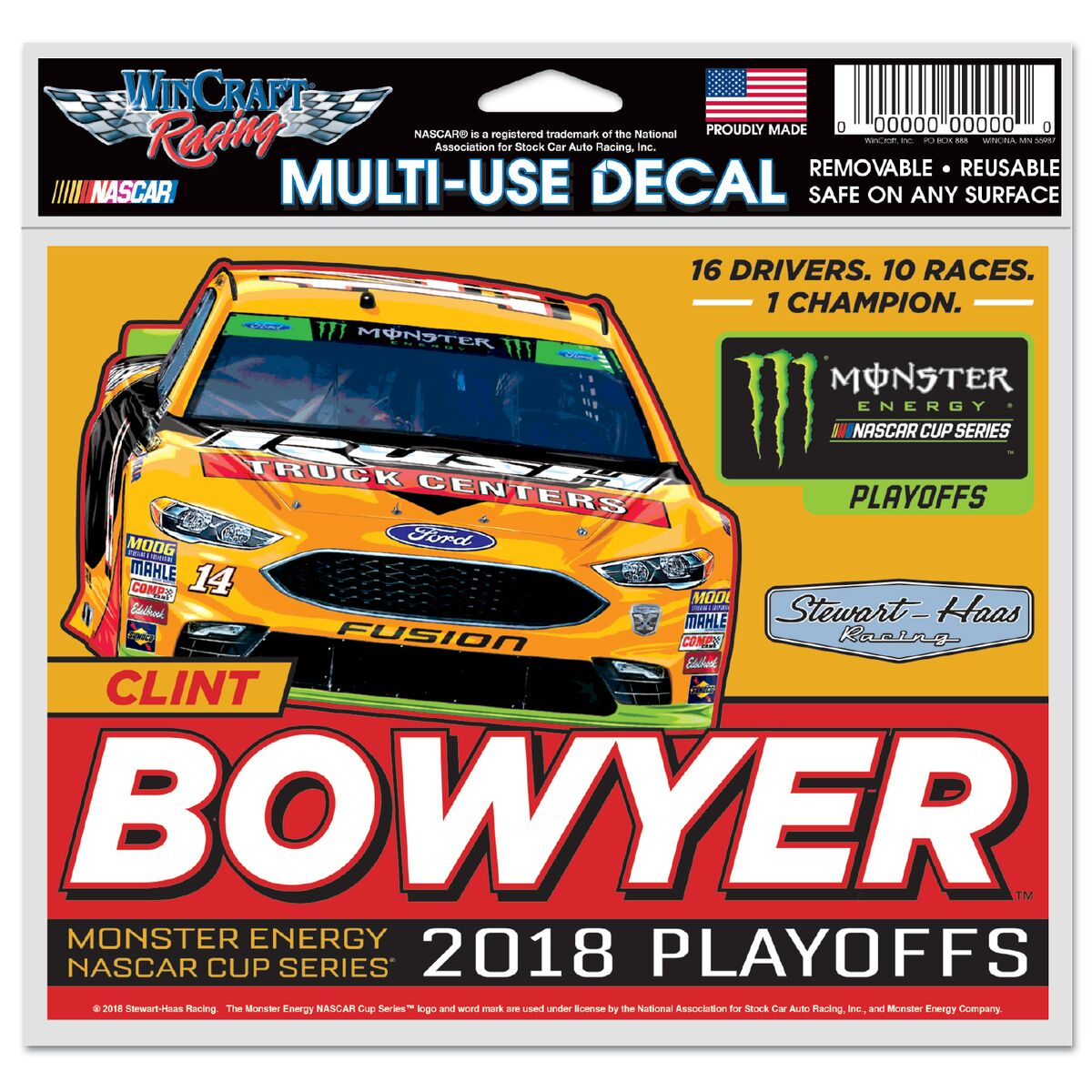 Clint Bowyer 2018 Rush Truck Centers Stewart-Haas Racing Playoff 5X6 Decal