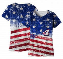 Kevin Harvick 2019 Stewart-Haas Racing Ladies American Red White & Blue Sublimated Tee