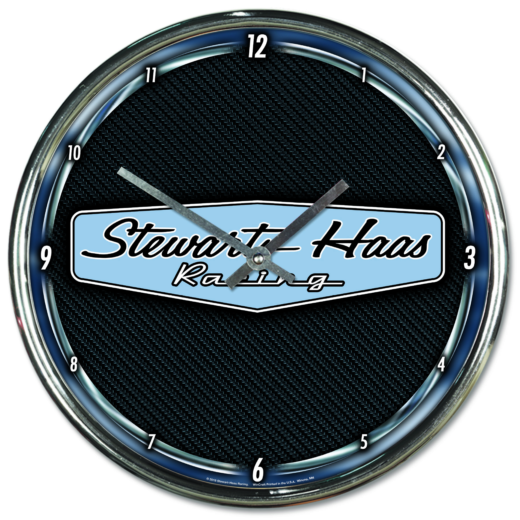 Exclusive Stewart-Haas Racing Chrome Wall Clock