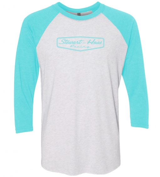 Exclusive Stewart-Haas Racing 3QTR Sleeve Teal Raglan Ladies Shirt
