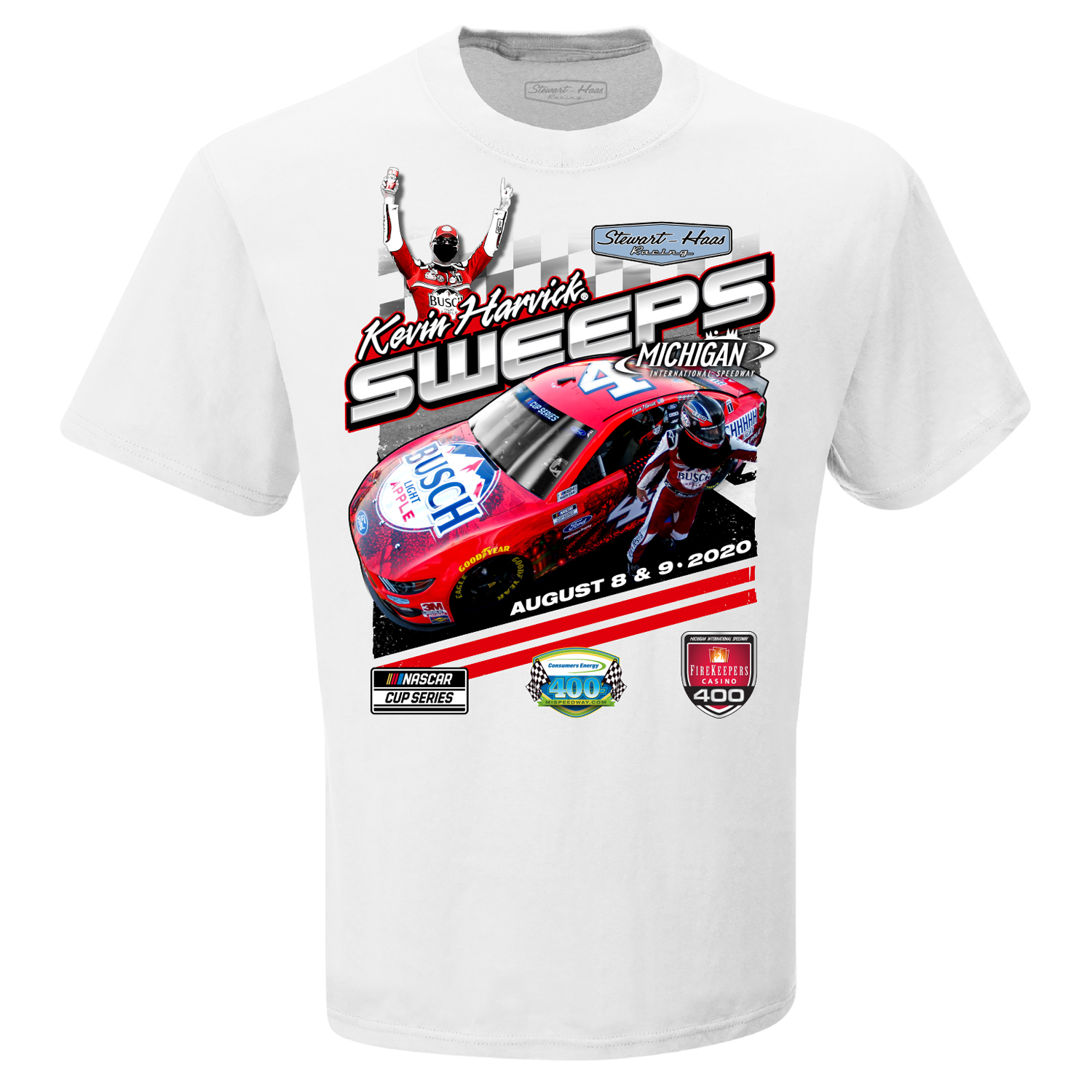 Kevin Harvick 2020 Busch Light Apple Stewart-Haas Racing Michigan Sweeps Win Tee
